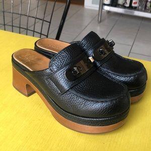 Coach turn lock mid heel clogs -NEW